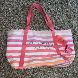 Victoria Secret pink and white bag tote